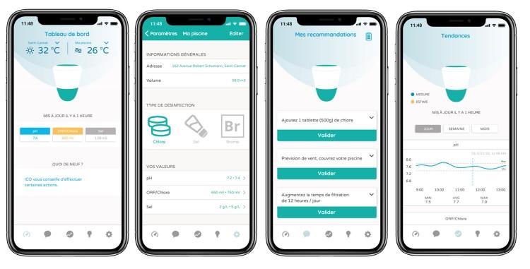 parametres eau piscine surveillance recommandations appli smartphone ico