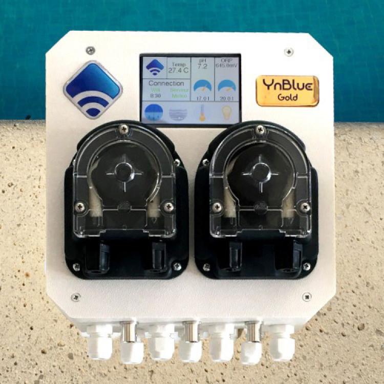 Système automatique YnBlue Gold d'Ynéom traitement automatique connecté eau de piscine