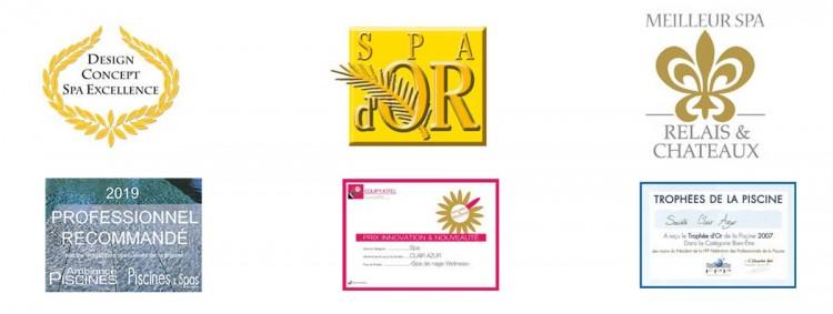 les récompenses Clair Azur, fabricant, distributeur, installateur,spa, sauna, hammam,bien-être