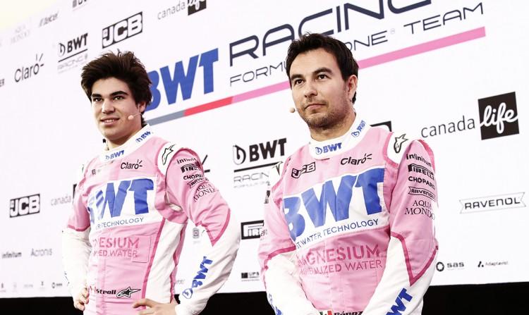les pilotes Lance Stroll et Sergio Perez F1 bwt racing point team