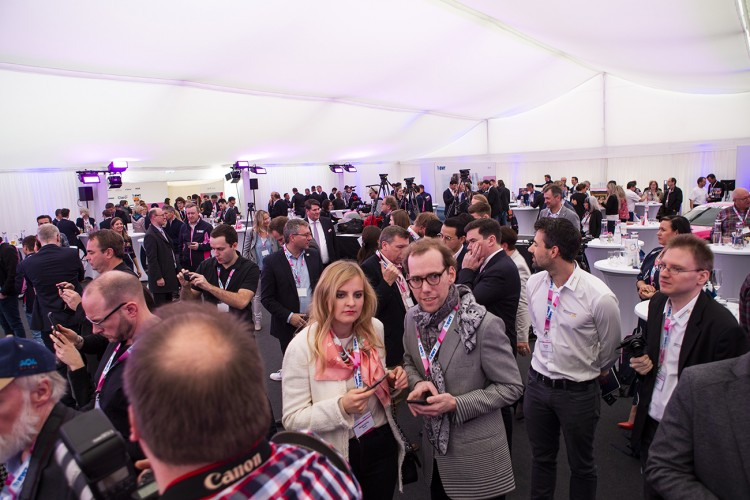 Guests and media at the home of BWT in Mondsee, Austria