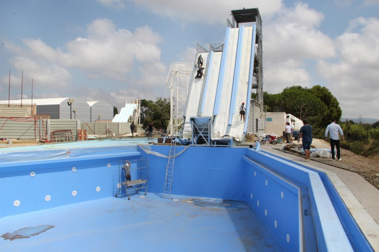 Chantier de construction du Water Jump - Creation Piscines