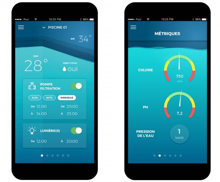 EZ Pool.App sur smartphone informations équipements piscine gestion