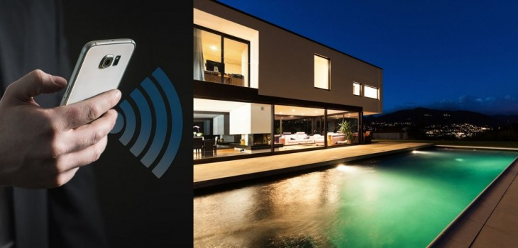 home automation automation equipment management on smartphone pool lighting by night