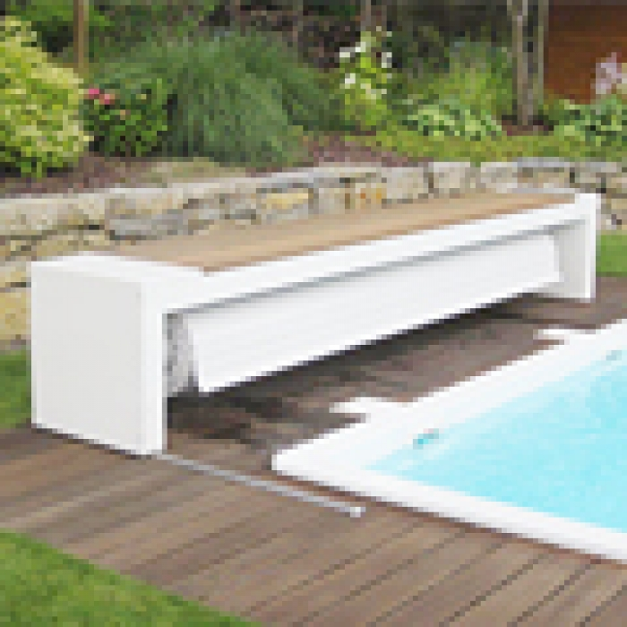 Practical Movable Pool Cover With Bench Housing