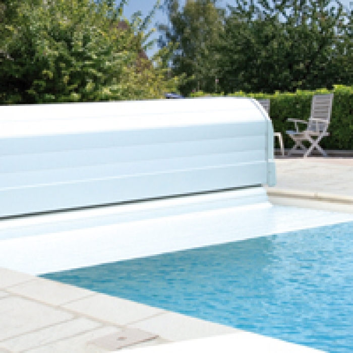 A sleek and low priced slatted pool cover