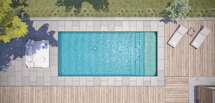 Akoya, première piscine coque avec volet immergé sous plage