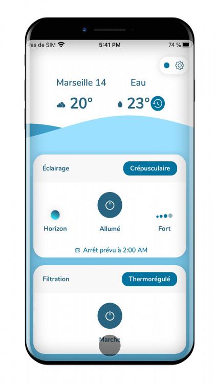 Aplicación para controlar sus equipos desde el smartphone, aquí las luces y la filtración