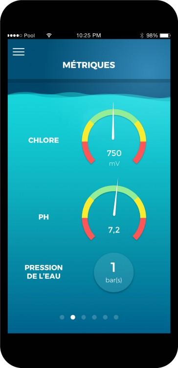 écran mobile avec Informations supplémentaires avec coffret connecté piscine EZ2