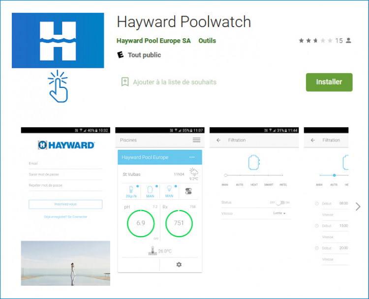 Application Hayward Poolwatch téléchargeable sur Google Play