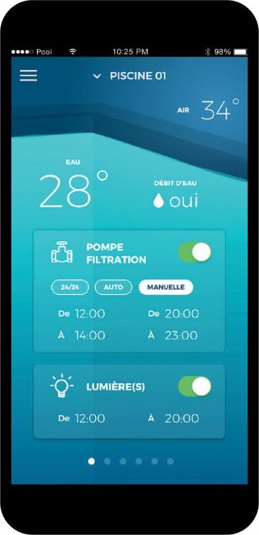 Ecran mobile avec informations piscine coffret connecté EZPool.app