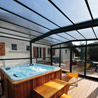 Angled shelters  for terraces and spas