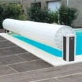 Automatic aboveground pool covers with carbon-finish posts