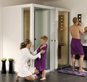 un combin sauna hammam dans moins de 3m. Black Bedroom Furniture Sets. Home Design Ideas