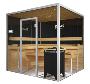 the elegant sauna made purely from glass by klafs. Black Bedroom Furniture Sets. Home Design Ideas