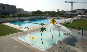 aquatic playground of the swimming pool