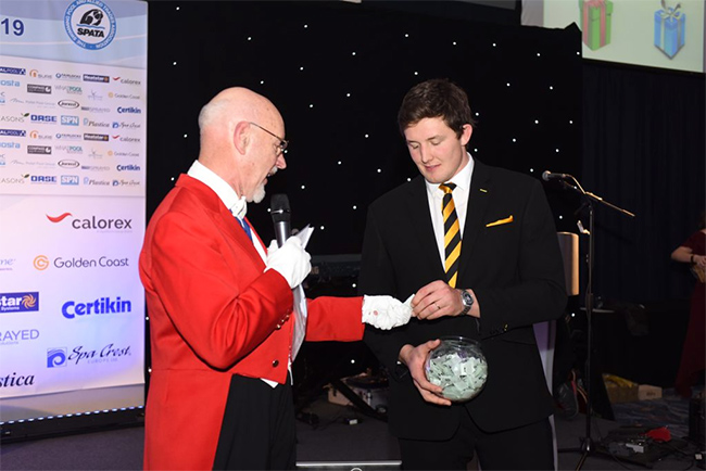 Toastmaster Brian Sylvester and rugbyman Charlie Matthews