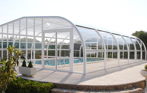 Vega line l abri de piscine haut fixe de vegametal for Accessoire abri piscine
