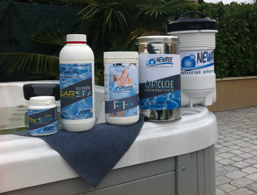 Newater range products in front of a spa