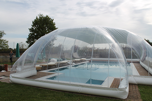 an inflatable shelter for the pool. Black Bedroom Furniture Sets. Home Design Ideas